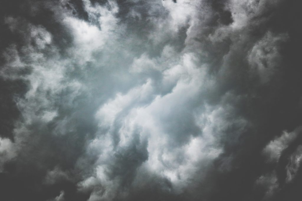 Dark clouds rolling across the sky