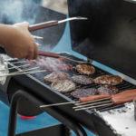 Hamburgers on a grill.