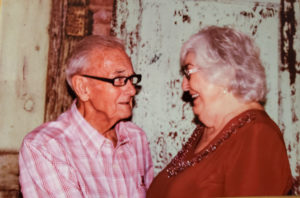 Roy and Aileen Matthews looking at each other