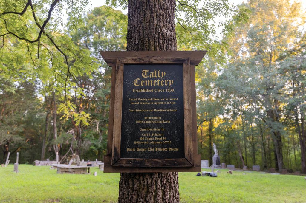 Tally cemetery sign